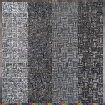 A greyscale grid painting with one stripe of color at the bottom
