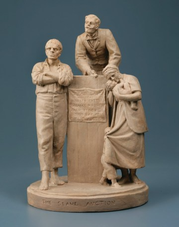 John Rogers' The Slave Auction, 1859, statue in marble.