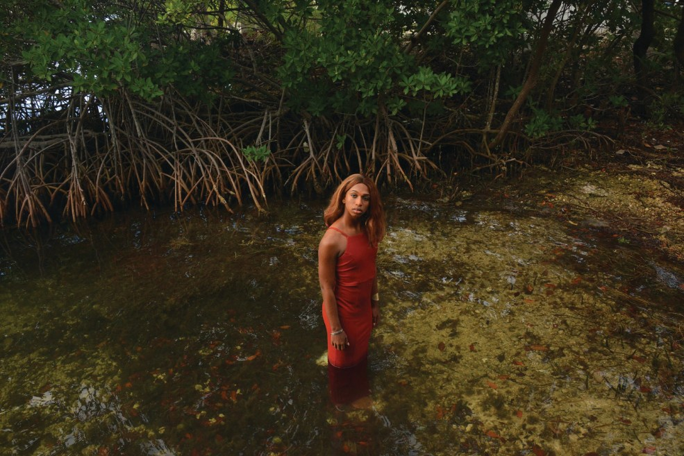 A person wearing a red spaghetti strap dress stands in a large pool of water surrounded by greenery. p