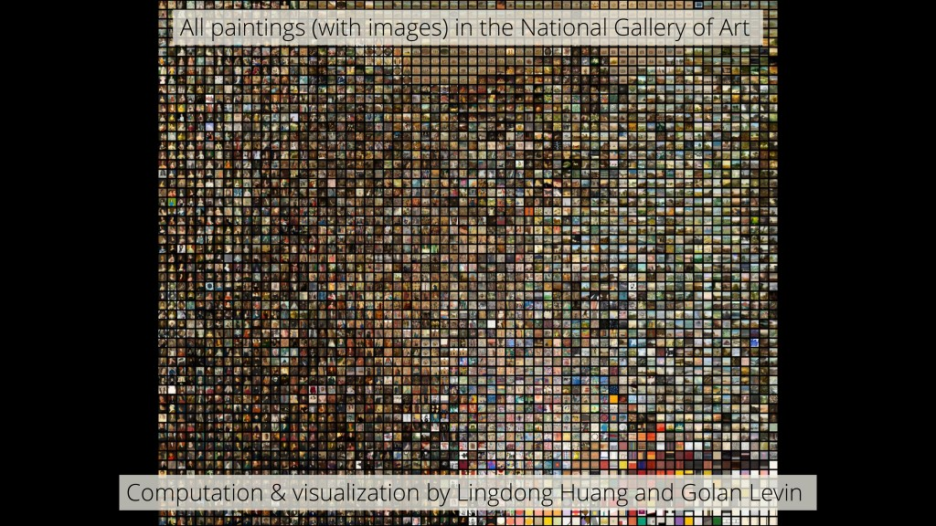 "A slide reading ""All paintings (with images) in the National Gallery of Art"" with small tiles representing every painting"