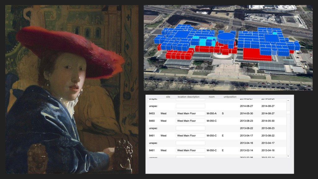 A slide showing a painting next to a virtual map version of the museum's galleries