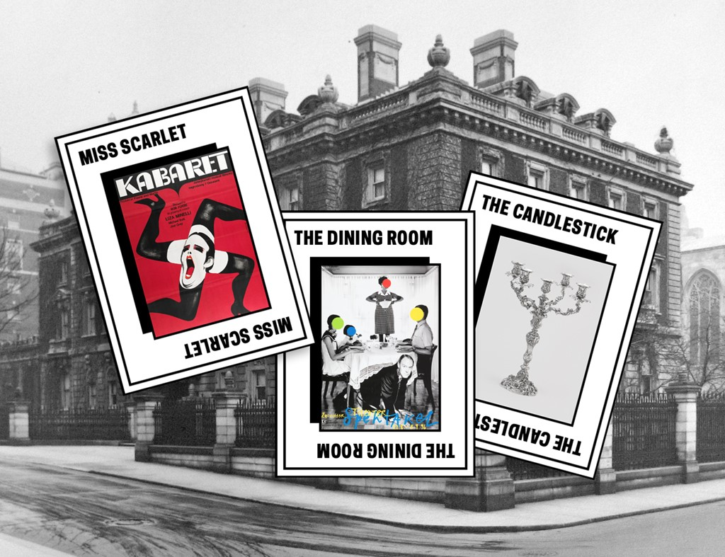 "Three tiles with object images in front of a black and white photograph of the Carnegie Mansion: read ""Miss Scarlett"" a red image with legs spinning; ""the dining room"" a photo scene of people at a dinner table; and ""the candlestick"" a silver candelabra"