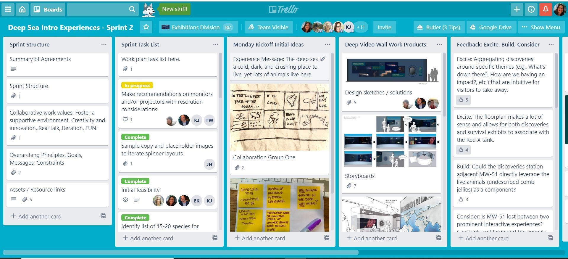 "A dashboard on the Trello platform titled ""Deep Sea Intro Experiences - Sprint 2"" with tabs reading ""Sprint Structure,"" Sprint Task List,"" ""Monday Kickoff Initial Ideas,"" ""Deep Video-Wall Work Products,"" and ""Feedback: Excite, Build, Consider."""