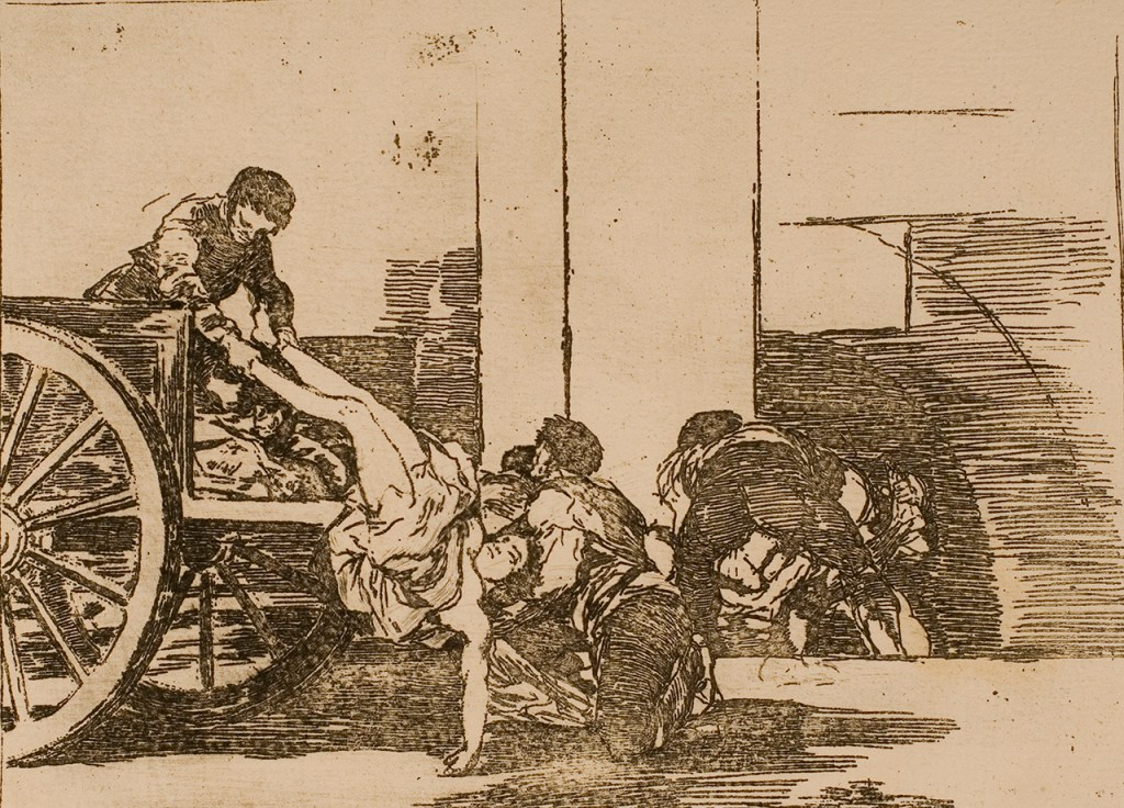 An etching of people transporting an inert body via a cart