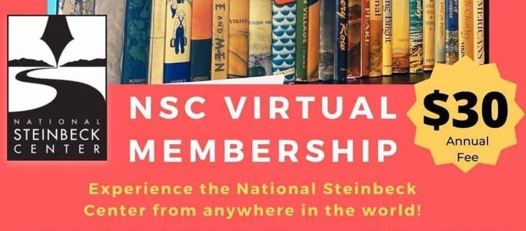 "A banner ad for the ""NSC Virtual Membership,"" advertising a ""$30 annual fee"" and the tagline ""Experience the National Steinbeck Center from anywhere in the world!"""