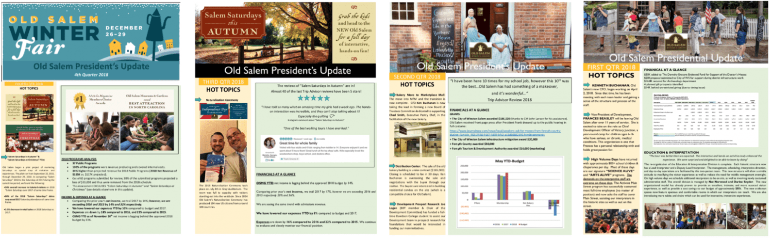 "Screenshots of seasonal ""president's updates"" on the financial picture at the museum"