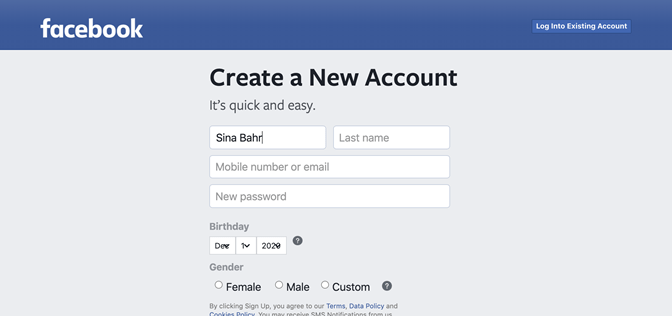 """A screenshot of the """"Create a New Account"""" page on Facebook, where the labels for form fields disappear when the user begins entering information"""