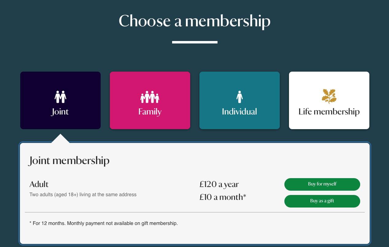 A membership purchase screen that shows two options: an annual rate of 120 British pounds per year, or a monthly rate of 10 pounds per month