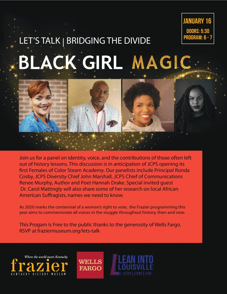 """A flyer advertising the """"Black Girl Magic"""" event, describing it as """"a panel on identity, voice, and the contributions of those often left out of history lessons."""""""