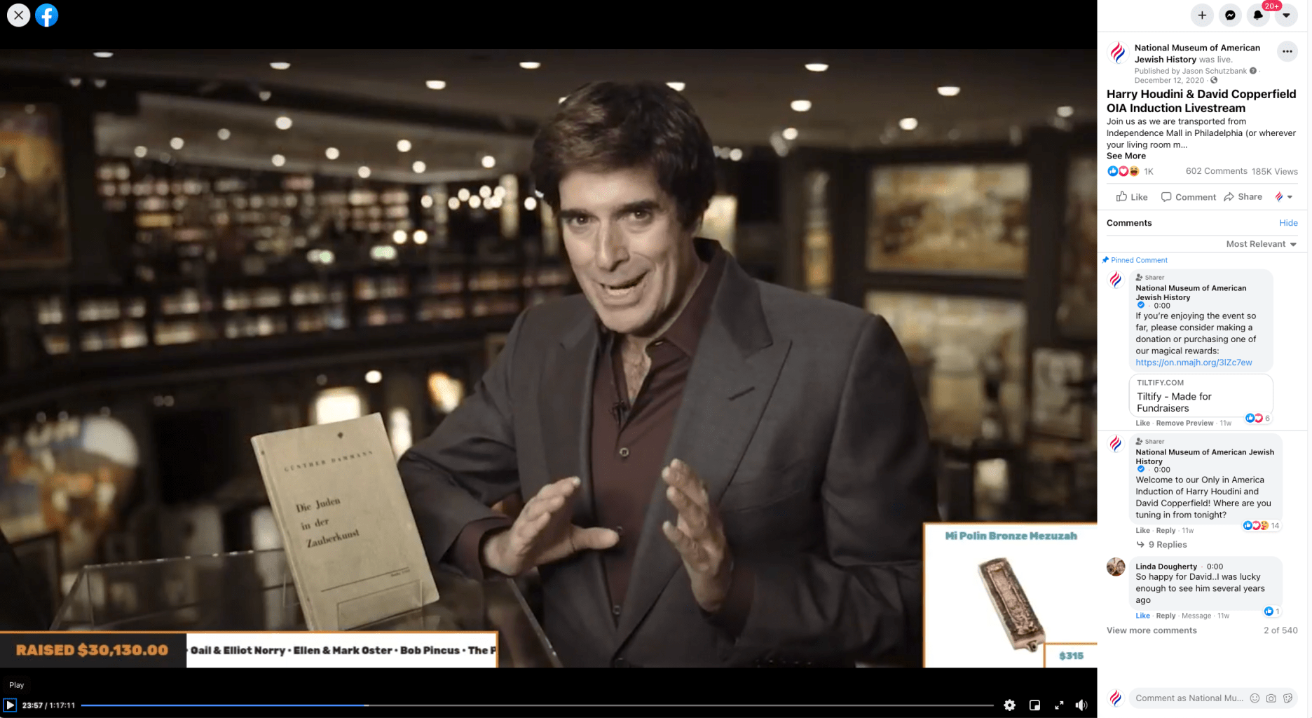 A screenshot of David Copperfield appearing at the fundraising gala via the museum's Facebook page