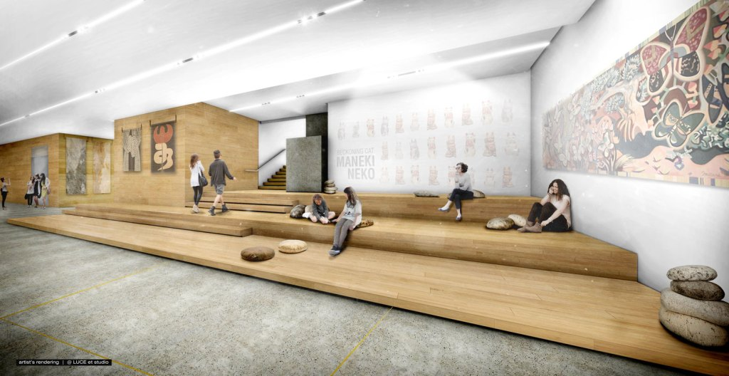 A rendering of a lobby-like space outside of an exhibition gallery with low wooden steps where people are portrayed lounging