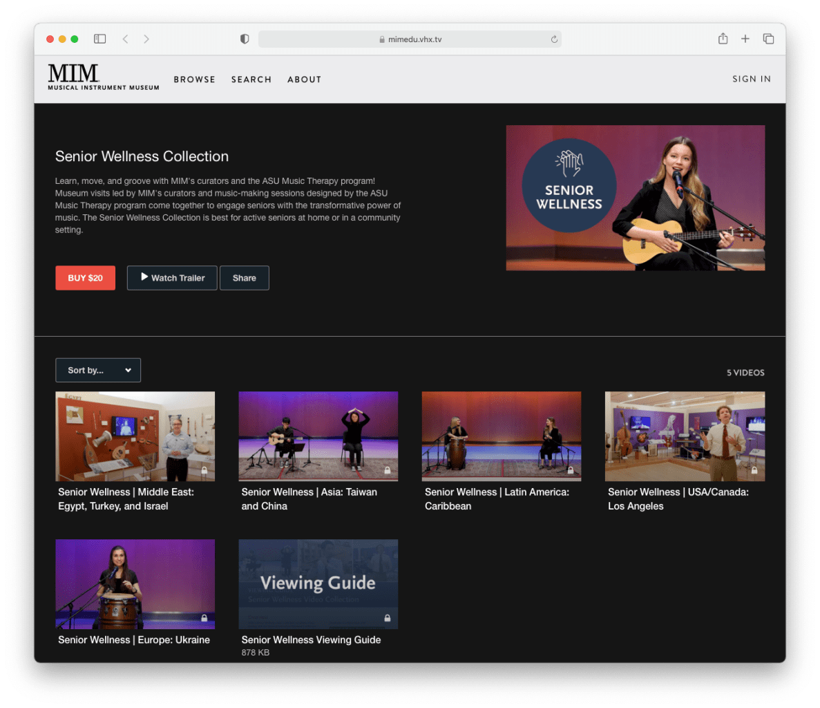 """A screenshot of a streaming video collection labeled """"Senior Wellness Collection"""" available for purchase for twenty dollars."""
