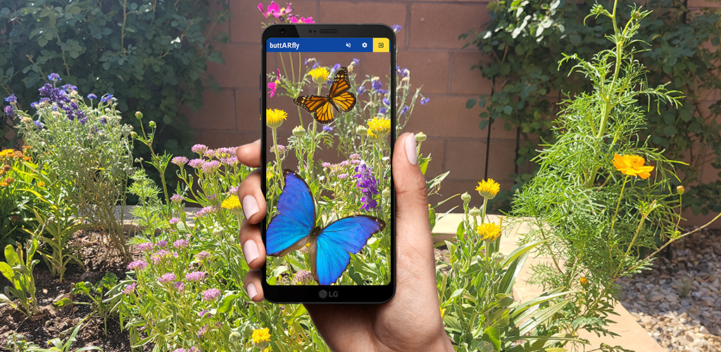 A rendering of a person standing in a garden holding a smartphone, which shows virtual butterflies superimposed over a camera view of the flowers.