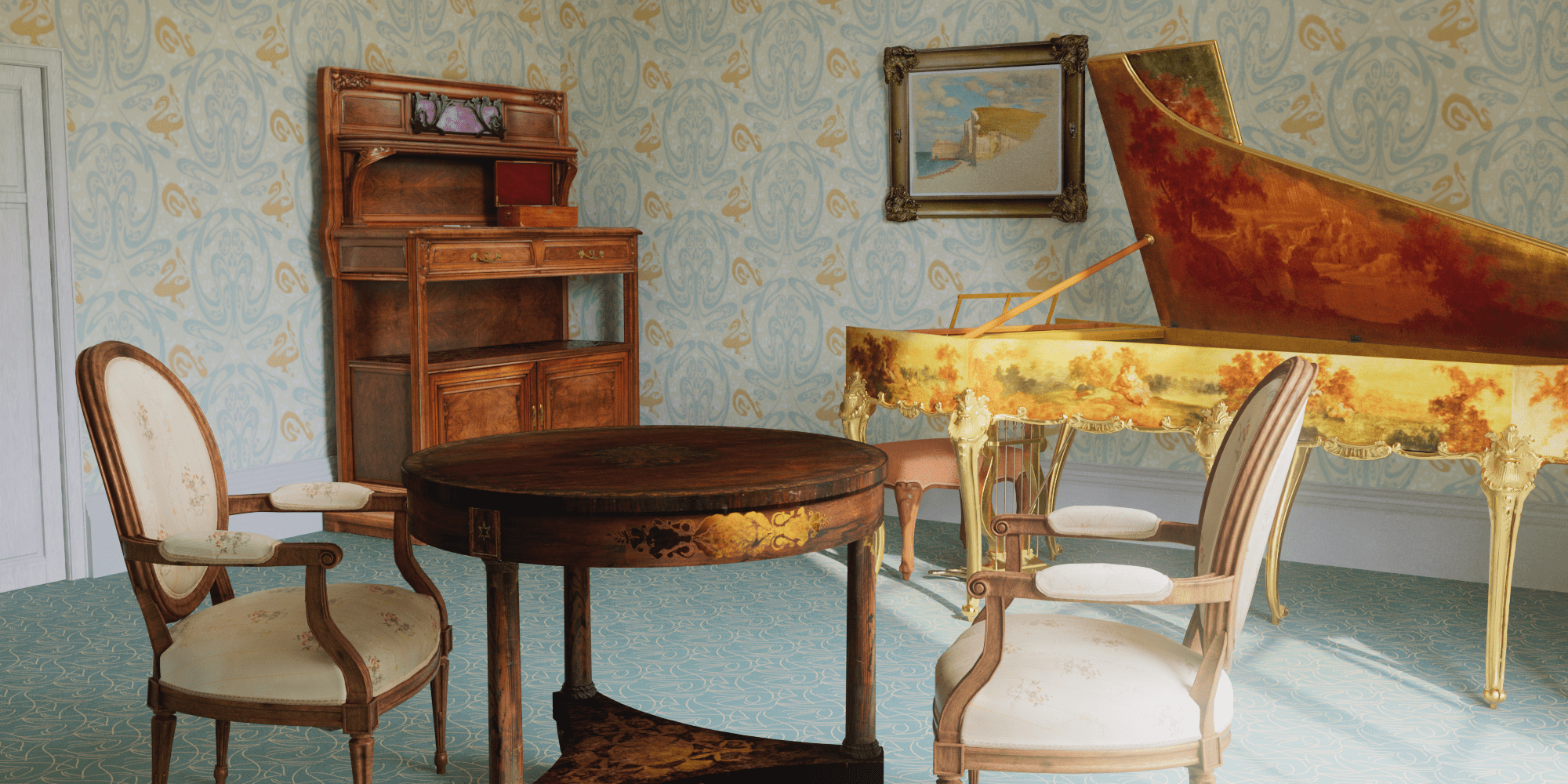 A virtual rendering of a period sitting room