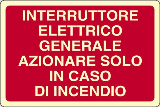 INTERRUTTORE ELETTRICO GENERALE AZIONARE SOLO IN CASO DI INCENDIO luminescente