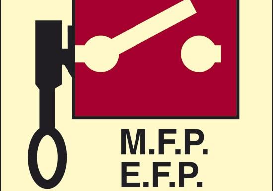 M.F.P. E.F.P. E.S. (pompe antincendio o interruttori d'emergenza telecomandati) luminescente