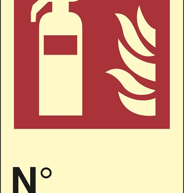 (estintore – fire extinguisher) N° luminescente
