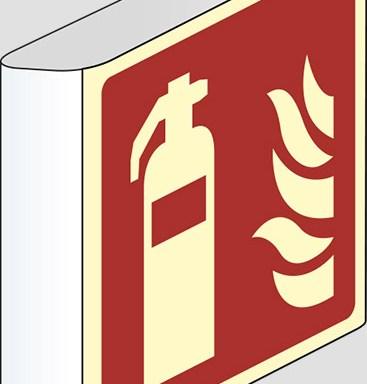 (estintore – fire extinguisher) a bandiera luminescente