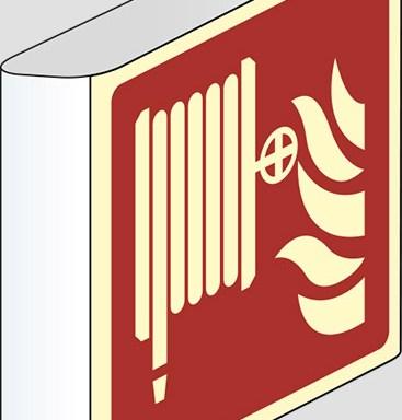 (lancia antincendio-naspo – fire hose reel) a bandiera luminescente