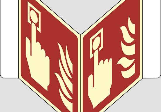 """(allarme antincendio – fire alarm call point) a """"V"""" luminescente"""