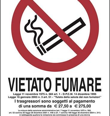 VIETATO FUMARE Legge 11 novembre 1975 n. 584