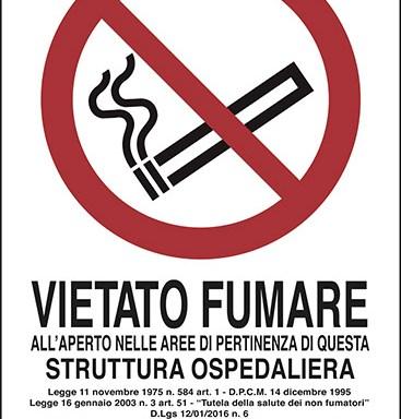 VIETATO FUMARE ALL'APERTO NELLE AREE DI PERTINENZA DI QUESTA STRUTTURA OSPEDALIERA…
