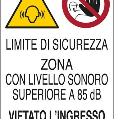 LIMITE DI SICUREZZA ZONA CON LIVELLO SONORO SUPERIORE A 85 dB(A) VIETATO L'INGRESSO AI NON AUTORIZZATI