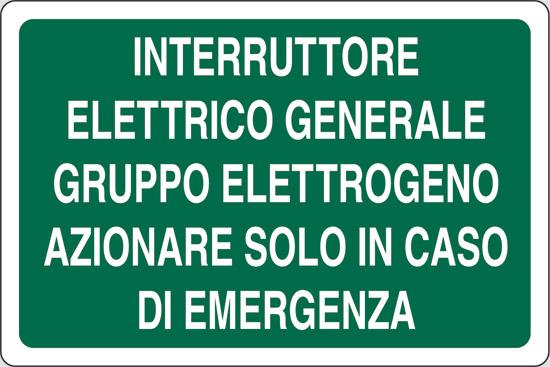 INTERRUTTORE ELETTRICO GENERALE GRUPPO ELETTROGENO AZIONARE SOLO IN CASO DI EMERGENZA