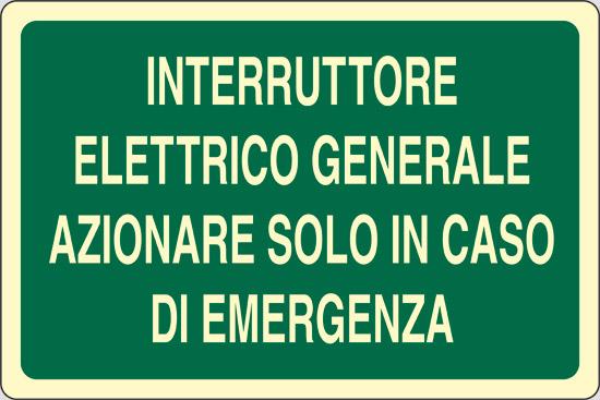 INTERRUTTORE ELETTRICO GENERALE AZIONARE SOLO IN CASO DI EMERGENZA luminescente