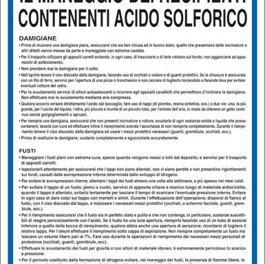NORME DI SICUREZZA PER IL MANEGGIO DEI RECIPIENTI CONTENENTI ACIDO SOLFORICO
