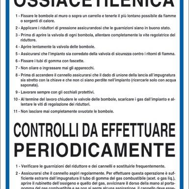 NORME PER LA SALDATURA OSSIACETILENICA CONTROLLI DA EFFETTUARE PERIODICAMENTE