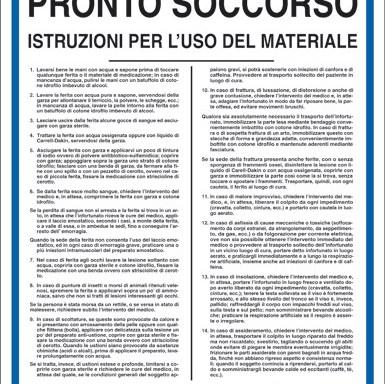 CASSETTA PRONTO SOCCORSO ISTRUZIONI PER L'USO DEL MATERIALE
