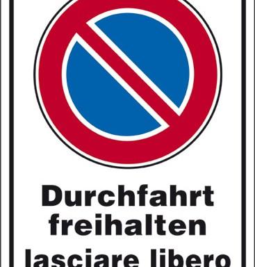 Durchfahrt freihalten lasciare libero il passaggio