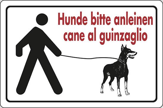 Hunde bitte anleinen cane al guinzaglio