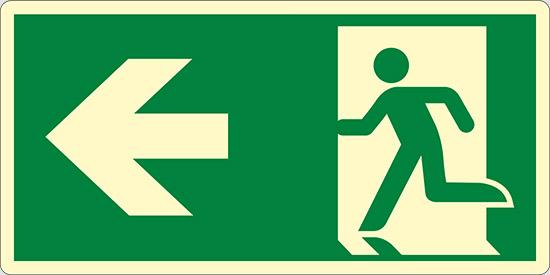 (uscita di emergenza a sinistra – emergency exit left hand) luminescente