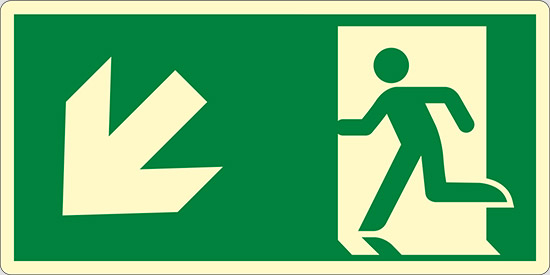 (uscita di emergenza in basso a sinistra – emergency exit down and left) luminescente