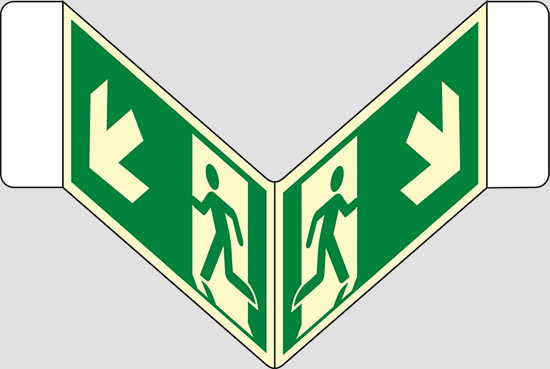 "(uscita di emergenza scala) a ""V"" luminescente"