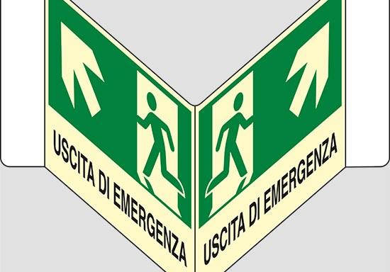 "USCITA DI EMERGENZA (scala) a ""V"" luminescente"