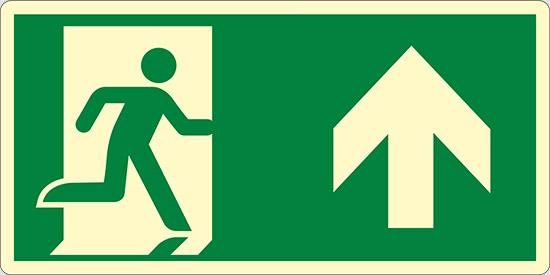 (uscita di emergenza in alto – emergency exit up hand) luminescente