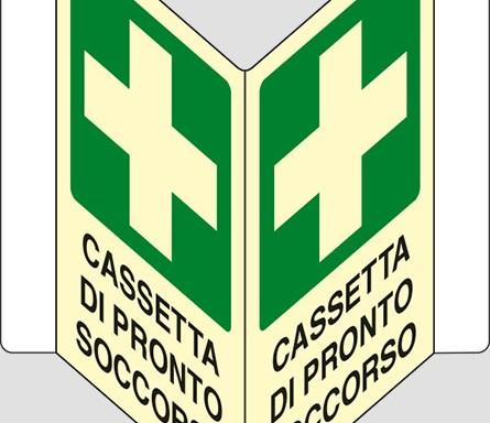 """CASSETTA DI PRONTO SOCCORSO a """"V"""" luminescente"""