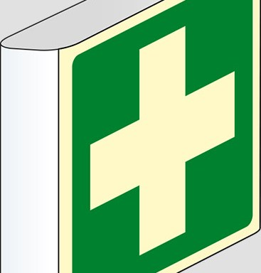 (pronto soccorso – first aid) a bandiera luminescente