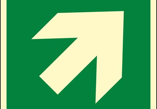 (freccia direzionale di 45°, incremento di 90°, condizioni di sicurezza – direction, 45° arrow 90° increments, safe condition) luminescente