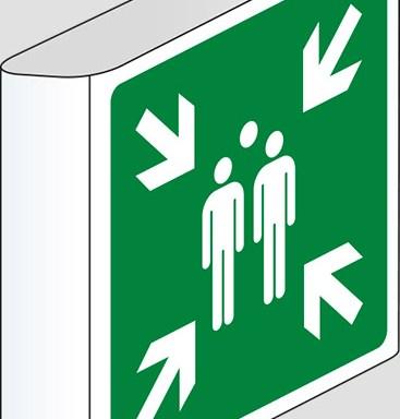 (punto di ritrovo ed evacuazione – evacuation assembly point) a bandiera