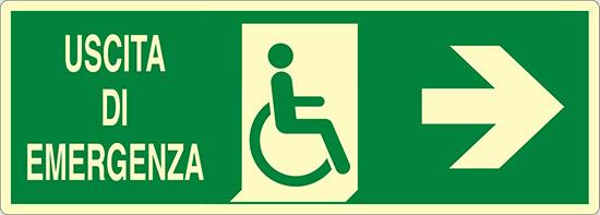 USCITA DI EMERGENZA (disabili a destra) luminescente