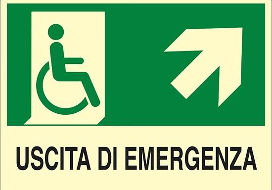 USCITA DI EMERGENZA (disabili in alto a destra) luminescente
