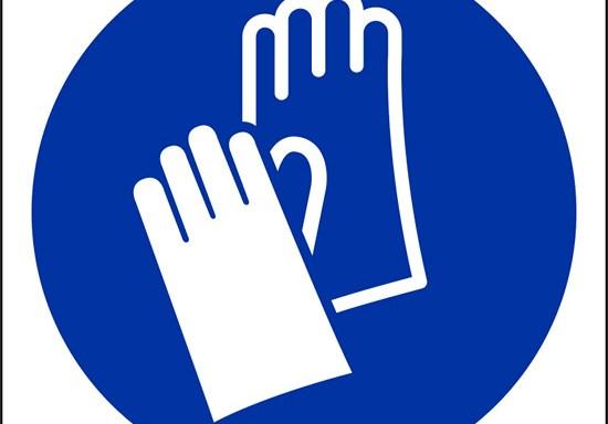 (e' obbligatorio indossare i guanti protettivi – wear protective gloves)