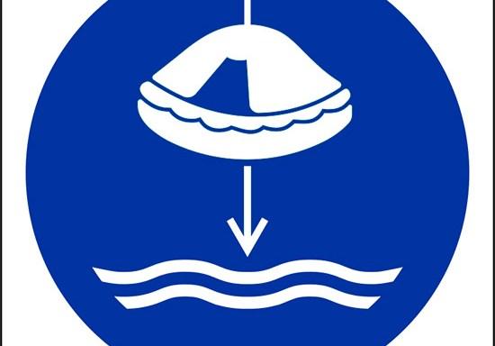 (calare in acqua la zattera di salvataggio nella procedura di lancio in mare – lower liferaft to the water in launch sequence)
