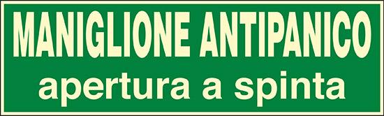 MANIGLIONE ANTIPANICO APERTURA A SPINTA luminescente
