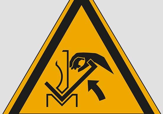 (warning: hand crushing between press brake and material)