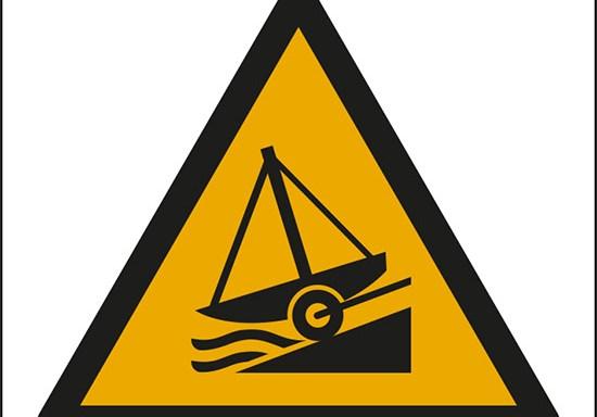 (attenzione; scivolamento – warning; slipway)